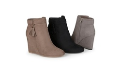 Journee Women's Tasseled Wedge Booties - Black - Size: 9