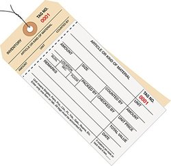 Box Partners 3500 to 3999 Wired Numbered Inventory Tag 2 Part Carbonless Stub Style (G19083)