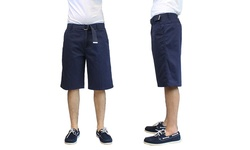 Galaxy By Harvic Men's 100% Cotton Flat-Front Shorts - Navy - Size: 32