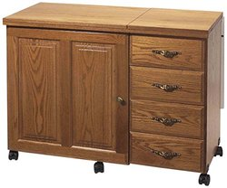 Model 6900 Premium Real Oak Sewing Cabinet New Real Knotty Alder Premium Cabinet with 4 Drawers and a Electric Lift. Honey Oak