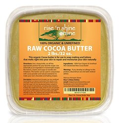 (32 oz) Bulk Raw Cocoa Butter with RECIPE EBOOK - Perfect for All Your DIY Home Recipes Like Soap Making, Lotion, Shampoo, Lip Balm & Hand Cream - Unrefined Organic Cacao Butter Good for Stretch Marks