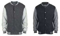 Mens Classic Varsity Jacket: Black/XL