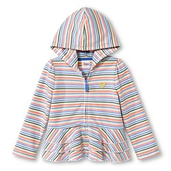 Circo Girls' Toddler Striped Peplum Ruffle Hoodie - Multi Stripe - 4T