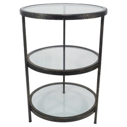 Threshold Round 2-Shelf Metal and Glass Accent Table