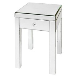 "13.75""x25.25""x13.75"" Mirrored Glass Accent Table w/ Drawer - White"