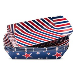 """8""""x4"""" 4th of July Striped Hot Dog Boats Paper Tray - 8-ct -Red/White/Blue"""