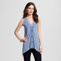 Knox Rose Women's Embroidered Washed Tank Top - Blue - Size: XXL
