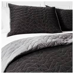 Pillowfort 2 pc Triangle Stitch Quilt and Sham Set - Black/Ebony -Sz: Twin