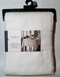 Threshold Plaid Oblong Woven Cotton Tablecloth - Soft White