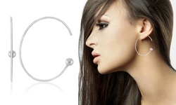 Women's Italian Sterling Silver Pull-Through Hoop Ball Earrings