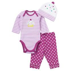 Gerber Baby Girls' 3 Piece Cap & Pant Bodysuit - Pink/White - Size: 3-6 M