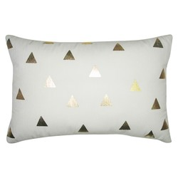 "Room Essentials 12"" x 18"" Diamond Gold Lumbar Decorative Pillow - White"