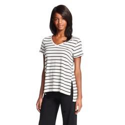Gilligan & O'Malley Women's Stripe Knit T-Shirt - Black/White -Size: M
