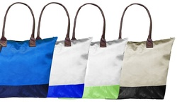 Peach Couture Trendy 2 Tone Foldable Tote Handbag - Light Blue/Navy