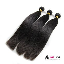 Uniwigs Brazilian Virgin Human Hair Extension Natural Straight Mixed Length 18inch 20inch 22inch 3pcs 300g Per Lot Unprocessed Natural Color Can be Dyed