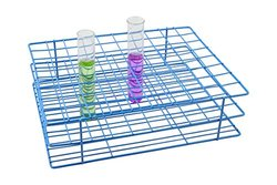 Blue Epoxy Coated Steel Wire Test Tube Rack, 80 Holes, Outer Diameter Permitted of Tubes 22-25mm or Less , 8x10 Format