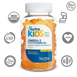 Nutra Kids Omega 3 Flaxseed Oil Orange Flavor 60 Gummies **GELATIN FREE**