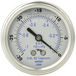 Pic Gauge Glycerin Filled Center Back Mount Pressure Gauge -0 hg psi Range