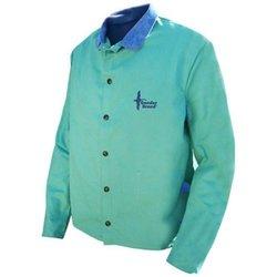 Bob Dale Men's Full Welders Jacket with Leather - Green - Size: 2X-L