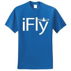Chosen Bows Boy's iFly T-Shirt - White Print - R Blue - Size: Medium