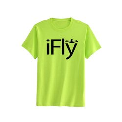 Chosen Bows Boy's iFly T-Shirt - Black Print - Neon Yellow - Size: Large