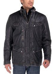 Luciano Natazzi Men's Vintage Look Long Leather Jacket - Black - Size: 3XL