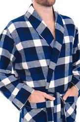 Del Rossa Men's Flannel Robe Cotton Bathrobe - Blue & White - Size: Large