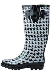 Sunville Women's Stylish Rain Boots Waterproof - Houndstooth - Size: 9B(M)