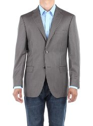 Bianco B Men's Check Modern Blazer Trim Fit Jacket - Tan - Size: 42L