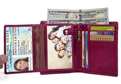 Yaluxe Women's Leather Wallet with Zipper Pocket ID Window - Pink