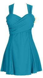 HengJia Women's Elegant Crossover Skirted Swimdress - B Green - Size: 6XL