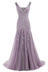 Cocomelody Women's A Line V Neck Evening Dress - Purple - Size: 24