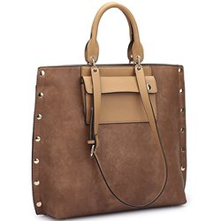 Dasein Tote With Front Pocket And Gold Snap Accents - Brown