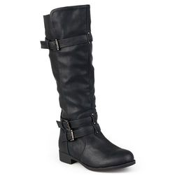 Journee Collection Women's Buckle Knee-High Riding Boots - Black- Size: 6