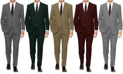 Braveman Men's Classic Fit 2 Piece Solid Suits: Tan-40lx34w