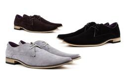 Zota Men's Suede Leather Oxford Shoes: Black - 13