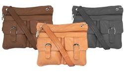 Afonie Multi Pocket Leather Crossbody Handbags - Black - Size: One Size