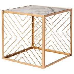 """Nate Berkus Square Accent Table with Marble Top - Gold - 18.5"""" x 18.5"""""""