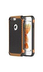 Apple Iphone 7 Plus Tough Hybrid Case Black TPU Orange PC
