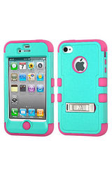 Insten Hybrid Protective Hard Case for iPhone 4 4s 4G WLM - Green/Pink