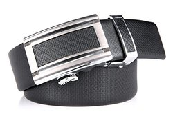 """Marino Men's Ultra Soft Leather Ratchet Dress Belt with Automatic Buckle, Enclosed in an Elegant Gift Box - Gunblack Silver Leather Buckle W/ Black Leather - Custom: Up to 44"""" Waist"""