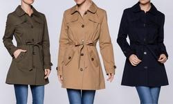 Women's Lightweight Trench Coat: Khaki/large