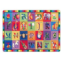 "Flagship Carpets FE111-32A ABC Blocks, Showcases Every Letter of the Alphabet, Children's Classroom Educational Seating Carpet, 5'10"" x 8'4"", 70"" Length, 100"" Width, Multi-Color"