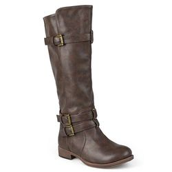 Journee Collection Women's Buckle Knee-High Riding Boots - Brown- Size: 9