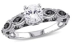 10k White Gold Ring with Black Diamonds & Created Sapphire - White