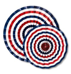 "16"" x 12"" 4th of July Hanging Paper Fan - 2-Pack - Red/White/Blue"