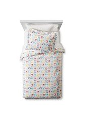 Circo Animal Faces Print Duvet Cover - White / Multi - Size: Twin