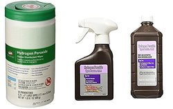Hydrogen Peroxide Large Disinfectant Wipes, 16 oz First Aid Spray Bottle , 32 oz Refill Bottle & Bonus 4.5x6 Please Wash Your Hands Magnet