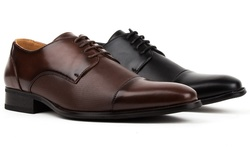 Signatures Men's Cap Toe Dress Shoes: Black/9.5