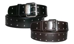 Unisex 2-hole Leather Belts 2-pack - Black & Brown - Size: Medium